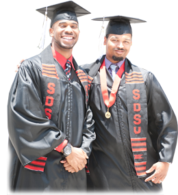 Two men smiling at SDSU commencement